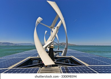 San Francisco, USA, - August 24, 2015:  The solar deck of on of the solar powered vesseels operated by Alcatraz Cruises in the San Francisco Bay.