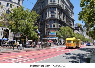 San Francisco, USA, CA, June 13, 2017, Trolley in market street