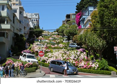 San Francisco, USA, California, July 13 2017, Cars in Lombard street