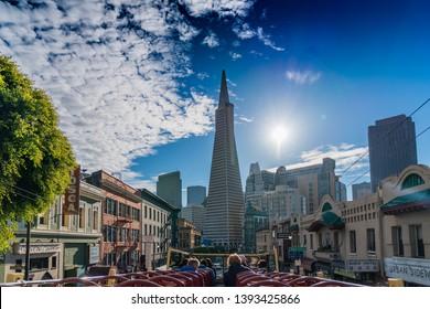 San Francisco / USA - Dec 1 2018 San Francisco Skyline from bus featuring Transamerica Pyramid
