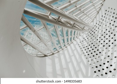 San Francisco, Usa, December 22,2017: architectural details of the atrium of the Moma Museum, the Museum of Modern Art designed by the Swiss architect Mario Botta and devoted solely to 20thcentury art