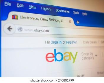 SAN FRANCISCO, USA - DECEMBER 23, 2014: Home page of Ebay e-commerce web site