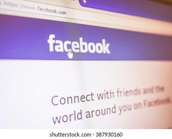 SAN FRANCISCO, USA - DECEMBER 23, 2014: Home page of social network site Facebook vintage