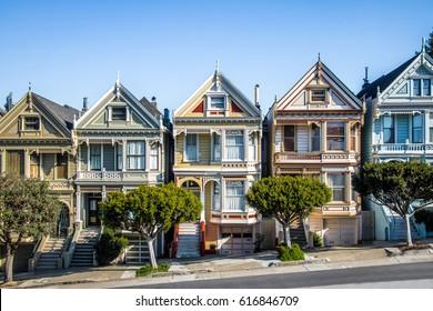 SAN FRANCISCO, USA - December 29, 2016:  Painted Ladies Victorian Houses row at Alamo Square - San Francisco, California, USA