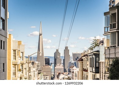SAN FRANCISCO, USA - February 12, 2018: TransAmerica Pyramid San Francisco and Buildings in Downtown famous post card vintage colors