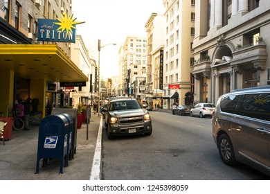 SAN FRANCISCO, USA - FEBRUARY 22, 2017: Hotel Triton in the great streets of San Francisco where some buildings are located.