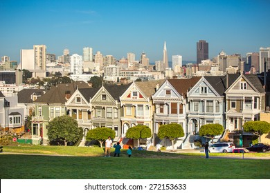 San Francisco, USA - January 3: View of the Painted Ladies in San Francisco on January 3rd, 2014. Painted Ladies is the row of Victorian houses across Alamo Square Park.