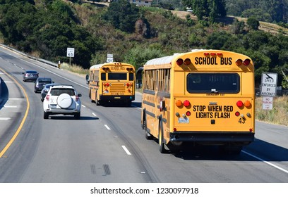 San Francisco; USA - july 14 2016 : school bus on the US 101 road between San Francisco and Monterey