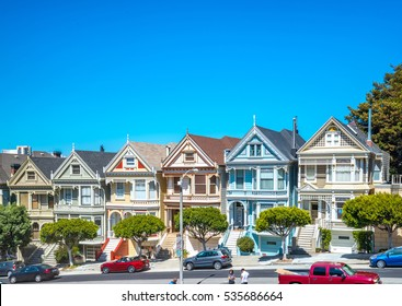 San Francisco USA - July 14, 2015 - Painted Ladies in San Francisco. It is the row of Victorian houses across Alamo Square park.