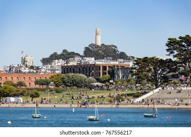 SAN FRANCISCO, USA - JULY 17, 2017: People visit Aquatic Park in San Francisco, USA. San Francisco is the 4th most populous city in California