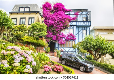 San Francisco USA - July 9, 2017 - Lombard Street, one of the most famous landmark and the crookedest street in the world.