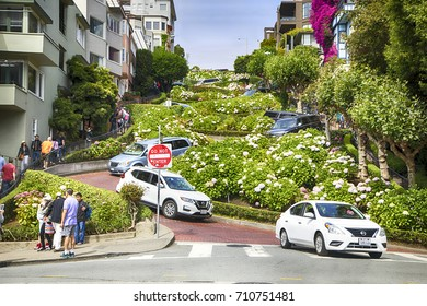 San Francisco USA - July 9, 2017 - Many tourists vehicles drive downhill on Lombard Street, one of the most famous landmark and the crookedest street in the world.