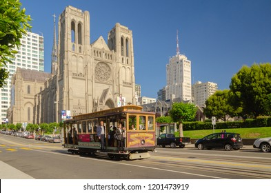 San Francisco, USA - Jun 24, 2015: Iconic Grace Cathedral stands on top of Nob Hill on a beautiful sunny, blue sky day