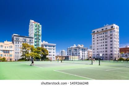 San Francisco, USA - June 11 2018: Tennis court with Transamerica Pyramid in the background, San Francisco, California, USA, North America
