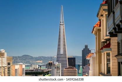 San Francisco, USA - June 11 2018: View of Transamerica Pyramid and Oakland Bay bridge San Francisco, California, USA, North America