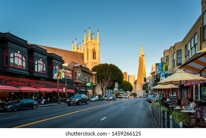 San Francisco, USA - June 12 2018: Transamerica Pyramid building on Columbus Avenue, North Beach, San Francisco, California, United States of America, USA