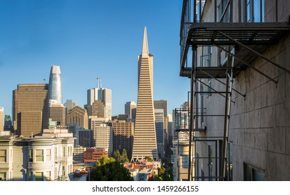 San Francisco, USA - June 12 2018: The Transamerica Pyramid in the financial district of downtown San Francisco, California, United States of America, USA