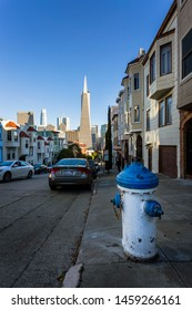 San Francisco, USA - June 12 2018: View of water hydrant and Transamerica Pyramid in the background, San Francisco, California, United States of America, USA