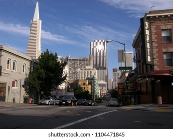 SAN FRANCISCO, USA - JUNE 15, 2010: View of the landmark Transamerica Pyramid from corner of Broadway and Kearney street. The building was the tallest skyscraper in San Francisco from 1972 to 2017