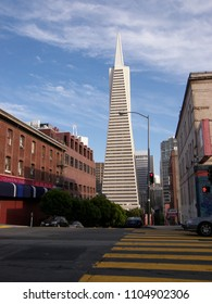 SAN FRANCISCO, USA - JUNE 15, 2010: View of the landmark Transamerica Pyramid from corner of Broadway and Montgomery street. The building was the tallest skyscraper in San Francisco from 1972 to 2017