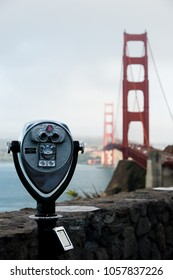San Francisco, USA - June 23, 2015: View of the Golden Gate Bridge and coin-operated binocular on the vista point