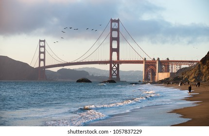 San Francisco, USA - June 23, 2015: View of the Golden Gate Bridge in the evening
