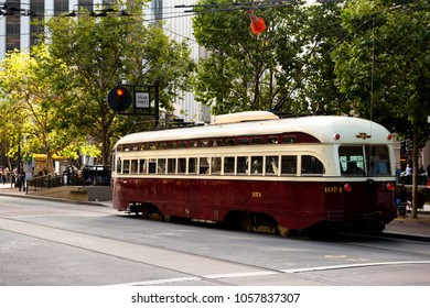 San Francisco, USA - June 27, 2015:  Old tram on the evening Market street