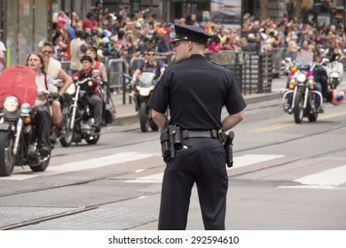 San Francisco USA - JUNE 28 Gay Pride Parade, ride with the SF Dykes on Bikes Women's Motorcycle Contingent on June 28, 2015 at Market Street