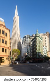 SAN FRANCISCO, USA - JUNE 29, 2017: Two iconic buidings of San Francisco, the Transamerica Pyramid and the Columbus Tower in Little Italy in California, USA