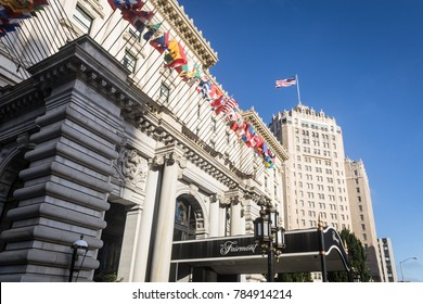 SAN FRANCISCO, USA - JUNE 29, 2017: An exterior view of the luxury Fairmont hotel on Nob Hill in San Francisco. The building is a city famous landmark.