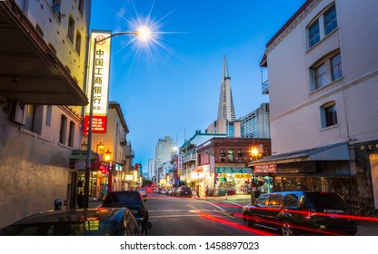 San Francisco, USA - June 8 2018: View of Transamerica Pyramid from Chinatown at night, San Francisco, California, United States of America, North America