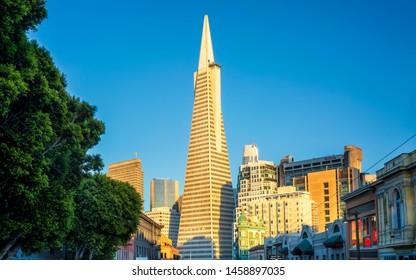 San Francisco, USA - June 8 2018: View of Transamerica Pyramid building on Columbus Avenue, North Beach, San Francisco, California, USA, North America
