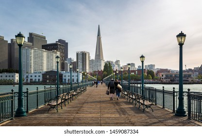 San Francisco, USA - June 9 2018: View on the Transamerica Pyramid from Pier 7 in San Francisco, California, United States of America, North America