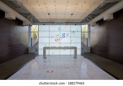 San Francisco, USA - MARCH 19: Symmetrical composition of the screens with Google logos at googles headquarters in Mountain View, on March 19, 2014 in San Francisco, USA.