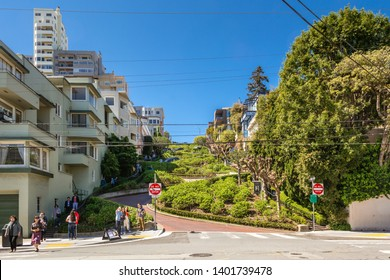 SAN FRANCISCO, USA - March 30, 2019: Lombard Street, known as crooked street in San Francisco, California. USA