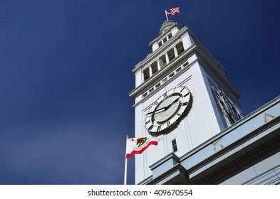 SAN FRANCISCO, USA - MARCH 31 2011: Detail of the San Francisco Ferry Building tower with a clear blue sky on March 31, 2011 in San Francisco, California.
