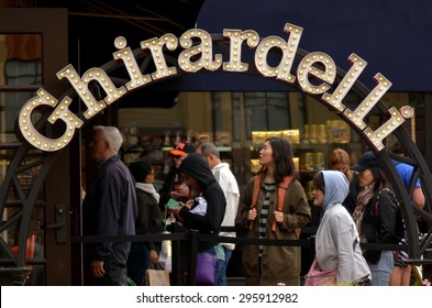 SAN FRANCISCO, USA - MAY 15 2015:Line to Ghirardelli Chocolate Company Shop at Ghirardelli Square in San Francisco, CA.Incorporated in 1852 is the third-oldest chocolate company in the United States.
