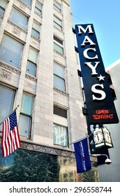 SAN FRANCISCO, USA - MAY 19 2015:Macy's store in San Francisco Union square.It is a mid-range chain of department stores owned by American multinational corporation Macy's, Inc.