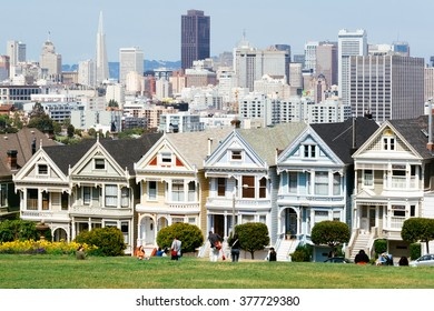 SAN FRANCISCO, USA - MAY, 2008: Painted Ladies in San Francisco on May 25th, 2008. It is the row of Victorian houses across Alamo Square park.