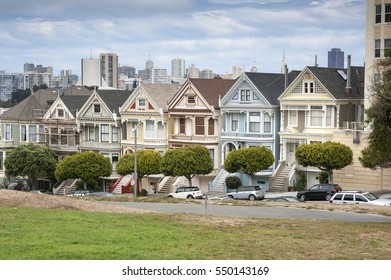 SAN FRANCISCO, USA -  MAY, 2015: Painted Ladies in San Francisco on May 31th, 2015. It is the row of Victorian houses across Alamo Square park.