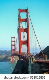 SAN FRANCISCO, USA - MAY 23, 2015: a sunny day at The Golden Gate Bridge in San Francisco, California