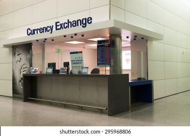 San Francisco, USA - May 24, 2015: Currency exchange booth at San Francisco International Airport