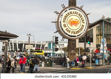 SAN FRANCISCO, USA - NOVEMBER 12: Fishermans Wharf of San Francisco central sign. Fisherman's Wharf is a neighborhood and popular tourist attraction. November 12, 2014 , San Francisco California.