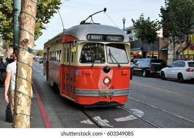 SAN FRANCISCO, U.S.A. - NOVEMBER 23, 2015: One of the many trams that drive through San Francisco.