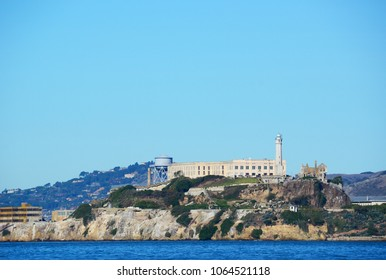 San Francisco, USA - November 25, 2014: Alcatraz Island, San Francisco. Photograph taken from black point near Fort Mason on a clear day.