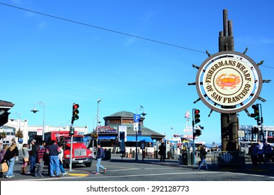 SAN FRANCISCO, USA - November 25, 2014: Fishermans Wharf of San Francisco central sign on November 25, 2014. Fisherman's Wharf is a neighborhood and popular tourist attraction in California.