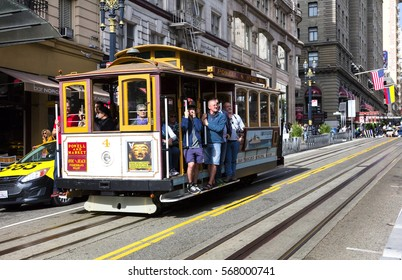 SAN FRANCISCO, USA - NOVEMBER 7, 2016: The Cable car tram. The San Francisco cable car system is world last permanently manually operated cable car system. Lines were established betw. 1873 and 1890.