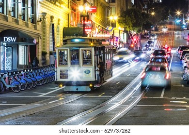 SAN FRANCISCO, USA - NOVEMBER 8, 2016: The Cable car tram. The San Francisco cable car system is world last permanently manually operated cable car system. Lines were established betw. 1873 and 1890.