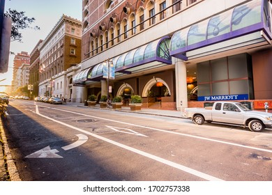 SAN FRANCISCO, USA - OCT 2, 2012: Entrance to JW Marriott hotel from empty street at sunset on Oct 2, 2012 in San Francisco, USA.