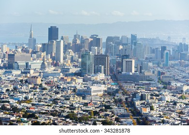 SAN FRANCISCO, USA - OCT 5, 2015: San Francisco from the Twin Peaks observation point. San Francisco is the cultural, commercial, and financial center of Northern California